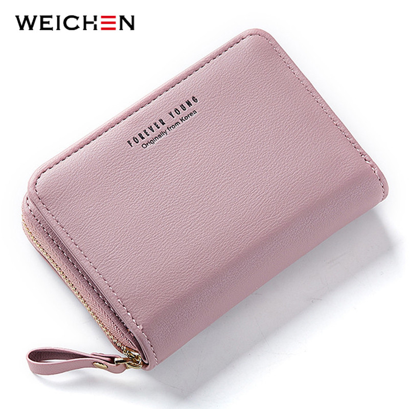 WEICHEN New Women Wallet Many Departments Card Holder Foldable Ladies Small Purse Zipper Card Case High Quality Female Wallets