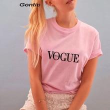 women t shirt vogue Seoul print  Cotton O-Neck Tops Summer top female friends tv fashion tees Korean style vintage pink