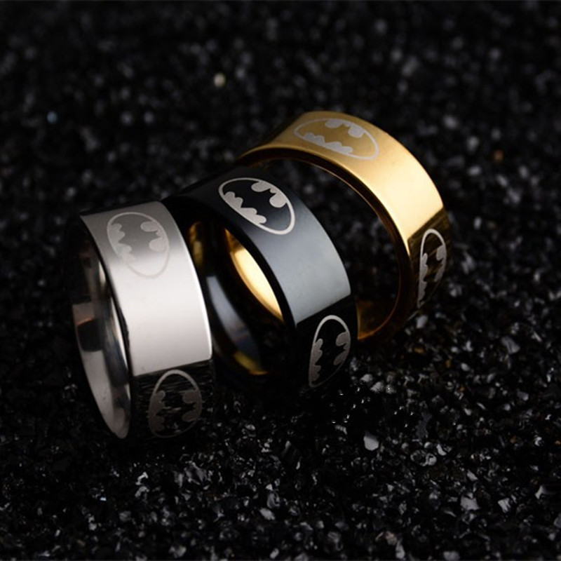 New Arrival 316l Stainless Steel Batman Ring Superman Ring Titanium Steel Rings For Women and Men Fine Jewelry