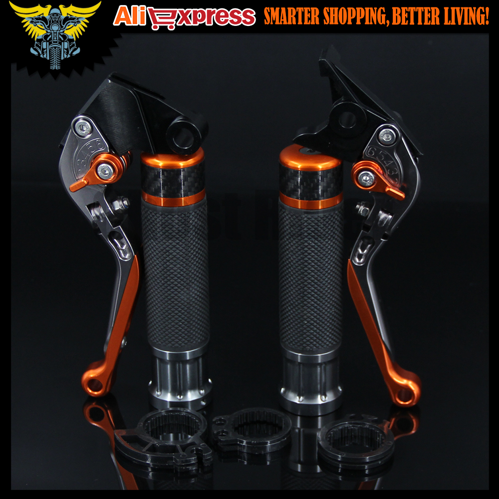 Motorcycle CNC Brake Clutch Levers and Handlebar Hand Grips Handle Grip For KTM RC125/125 Duke 2014 2015 2016 for ktm rc390 rc200 rc125 125 duke high quality motorcycle cnc foldable extending brake clutch levers folding extendable lever
