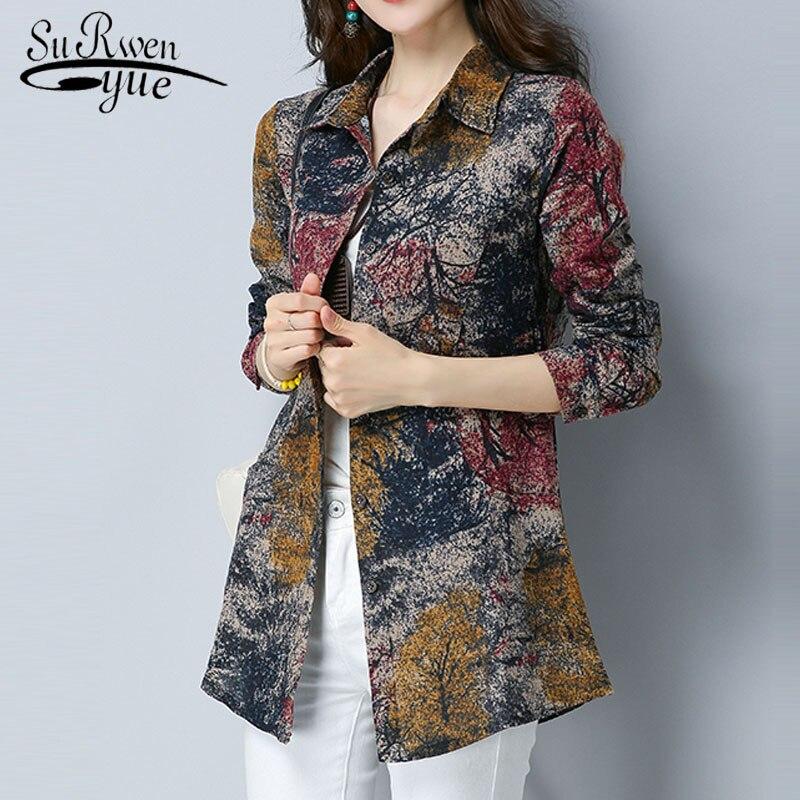 2019 Spring New Print Women Blouse Causal Cotton Female Clothing Long Sleeve Women Tops Shirts Fashion Feminenas Blusas 2213 50