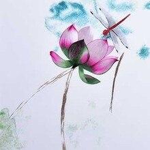 DIY незавершенный шелк тутового шелкопряда Сучжоу вышивка узоры наборы ручной работы Рукоделие наборы Лотос