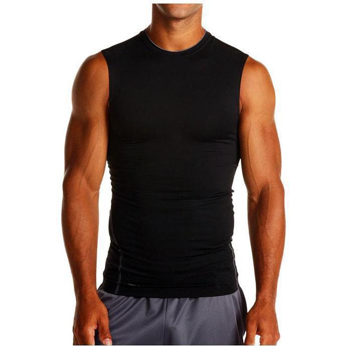 10 Pcs/Lot 2017 New  Fitness Moletom Men's Under Base Layer Fitness Running Jogging Workout Crew Neck Compression Sleeveless