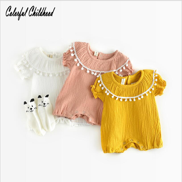 0f9f39e22bbd Ins Cotton Baby girl summer Rompers Vintage casual toddler kids Romper short -Sleeve cute children Clothes 0m - 24m