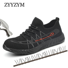 ZYYZYM Men Work Safety Boots Plus Size 36-46 Unisex Outdoor Steel Toe Shoes Puncture Proof Protective Man