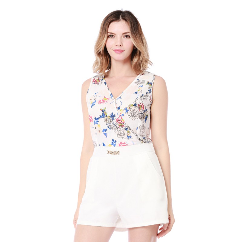 Sleeveless V Neck Floral Printed Beach Short Overalls For Women Sexy Playsuits Female Vest Playsuit Hollow Out Wide Leg Shorts