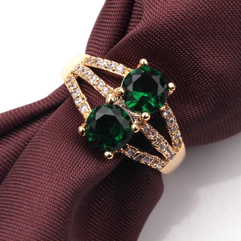 หญิงคู่แหวนแฟชั่นทองสีเครื่องประดับแหวนแต่งงาน Vintage หินวันเกิดของขวัญเครื่องประดับ