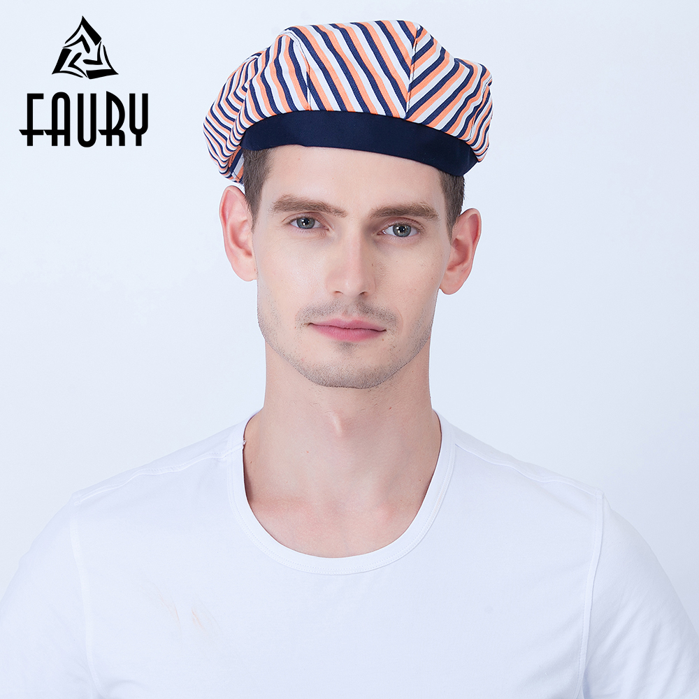 5 Colors Unisex Striped Chef Hats Restaurant Catering Food Service Work Caps Breathable Kitchen Uniforms Accessories Forward Cap