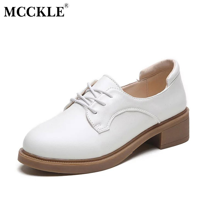 MCCKLE 2017 Fashion Women Shoes Low-Heel Woman Round Toe Lace-up Platform Black Ladies Office Casual Comfortable Spring&Autumn mcckle 2017 fashion woman shoes flat women platform round toe lace up ladies office black casual comfortable spring