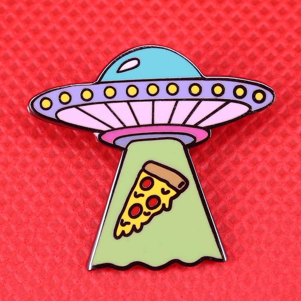 Ufoエナメルピンかわいいピザブローチ宇宙宇宙バッジ外側宇宙船ラペルピン天文学恋人ギフトシャツバックパックアクセサリー