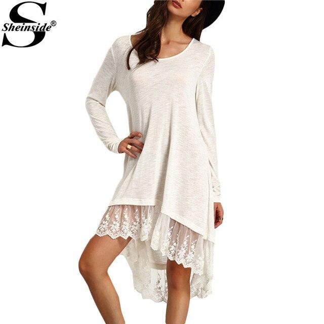 Sheinside женские платья свободного покроя 2016 новое поступление летний стиль с длинным рукавом женщины белое кружево вставить подол платье