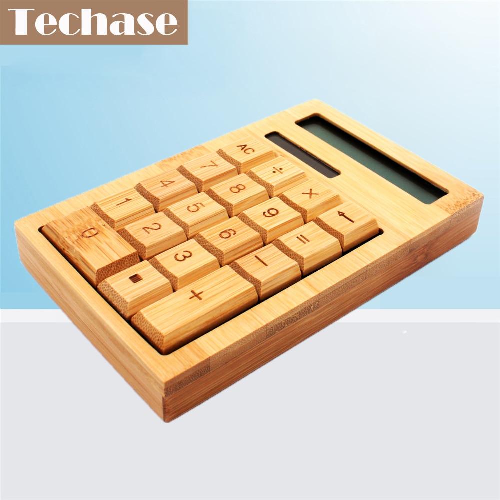 Techase CS18 კალკულატორი Bamboo Calculadora მზის სამეცნიერო კალკულატორი Mini Calculadora 2017