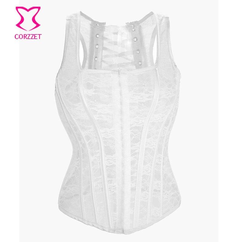 Sexy Hollow Out Lace Corset White Wedding Bustier Waist Trainer Vest Corsets  Bridal Lingerie Burlesque Korsett d771a26edf5d