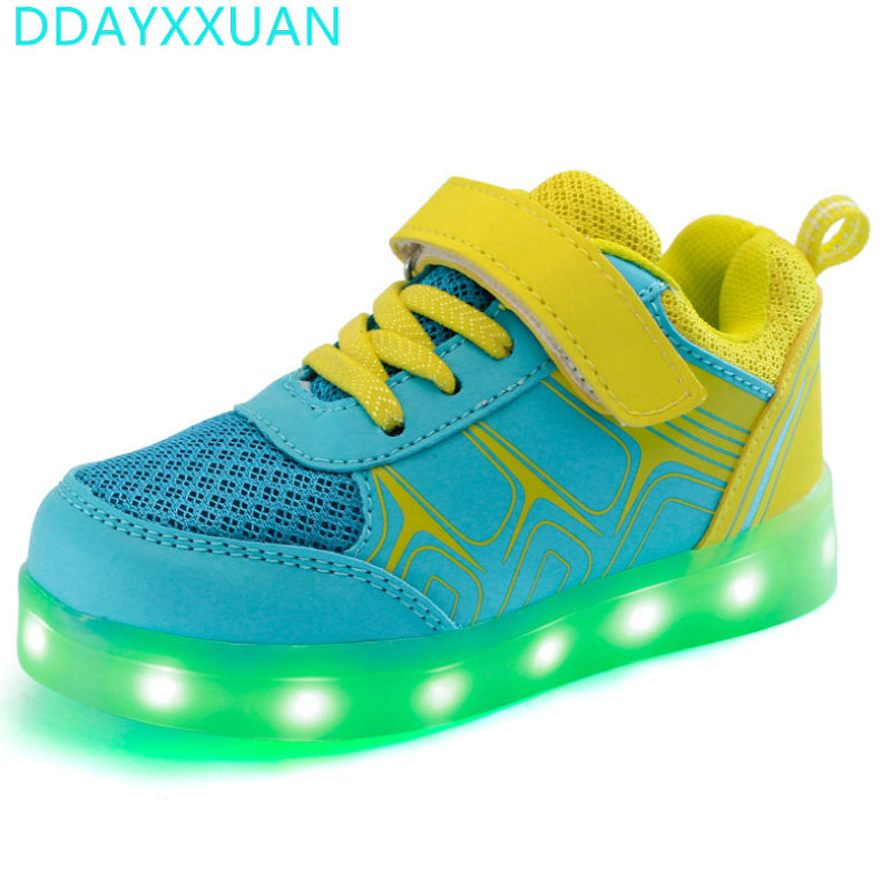2017 New Boys Girls Led Luminous Glowing Children Breathable Sneakers Usb Charge Colorful Flashing kids Sports Shoes with lights все цены