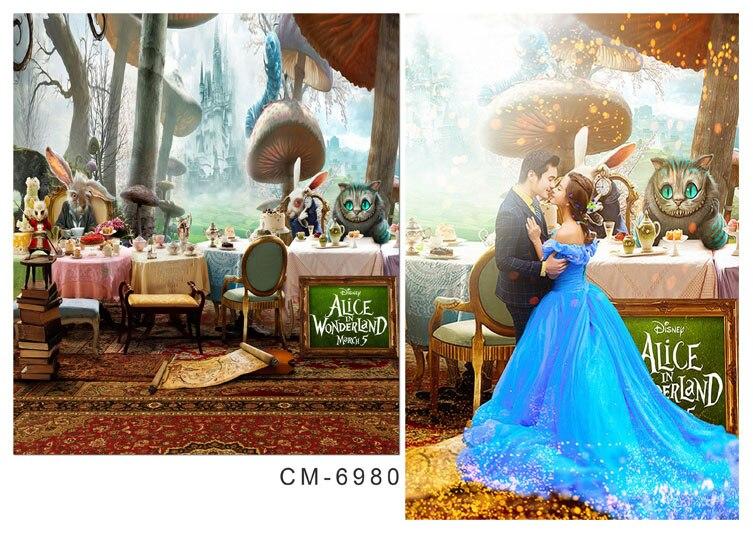 10x10ft Alice Wonderland Kasteel Dieren Party Cake Tafels Kids Kind Custom Fotografie Studio Achtergronden Achtergronden Vinyl 3x3 M