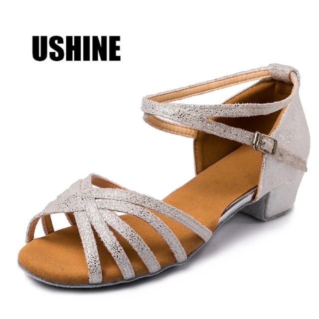 29d9de55b9f White-Silver Point Satin Low Heel Tango Salsa Latin Dance Shoes Woman Girls  MF1702 Free Shipping