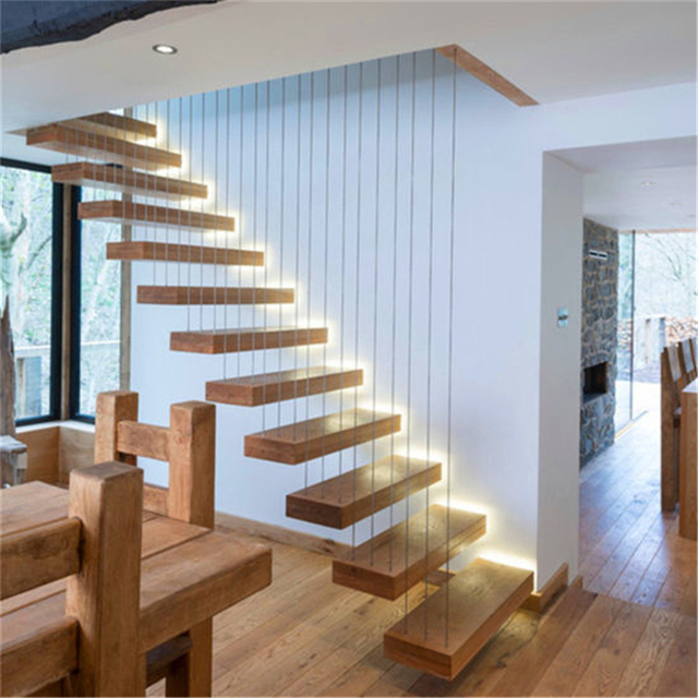 Floating Staircase Ideas: House Low Cost Straight Staircase Design Floating