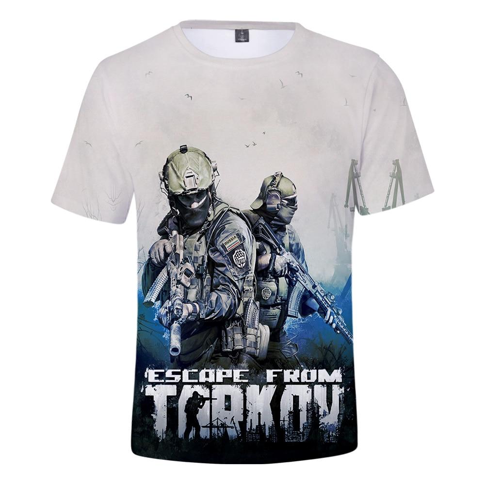 3D Men Tshirt Escape from Tarkov Print New Game Harajuku Short sleeve Comfortable t shirt Hot Leisure Boy/Girl White Tops Tee(China)