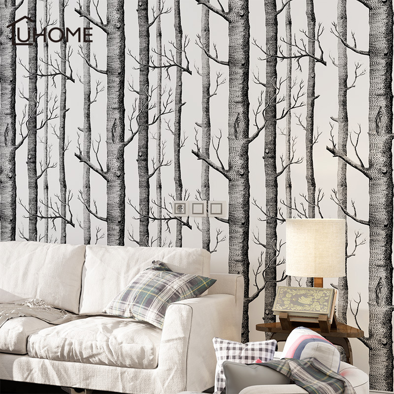 Black White Large 3D Birch Tree Wallpaper For Bedroom Modern Living Room Wall Paper Roll Rustic Forest Wood Wallpapers 53x1000cm