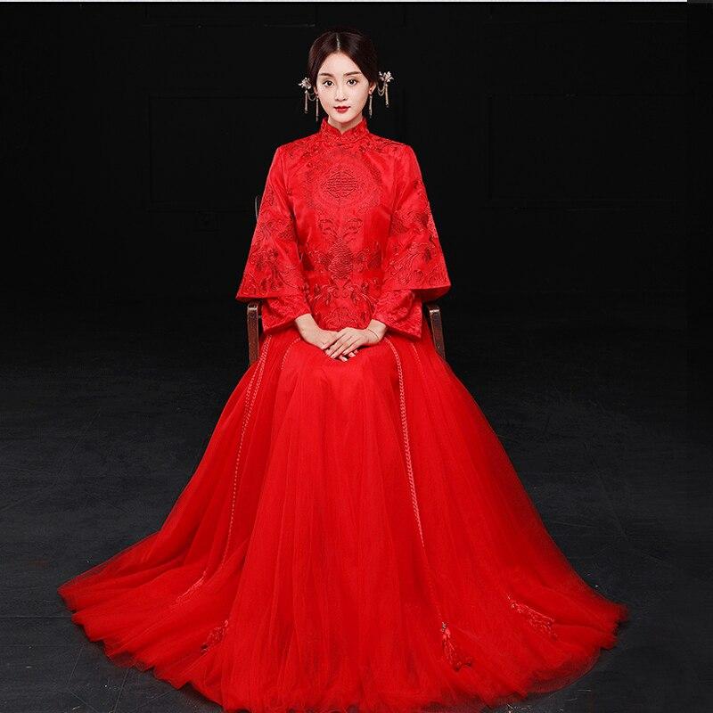 Новый красный Традиционный китайский торжественное платье Qipao Национальный костюм женские за рубежом китайский Стиль невесты вышивка