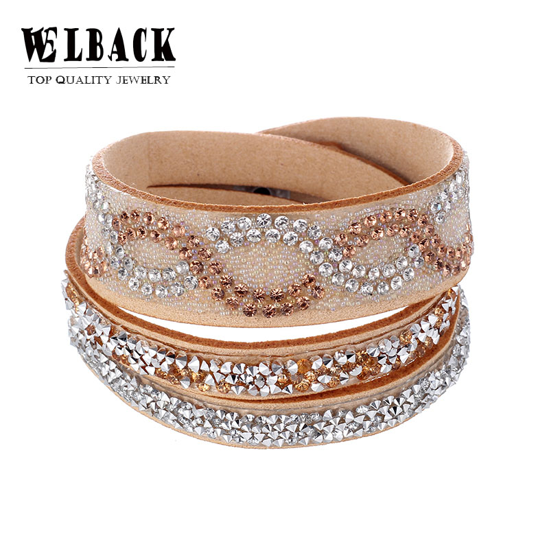 2018 Fashion Jewelry leather Crystal Bracelets &bangles For women Rhinestone Leather Bracelet Crystal Braclets ...