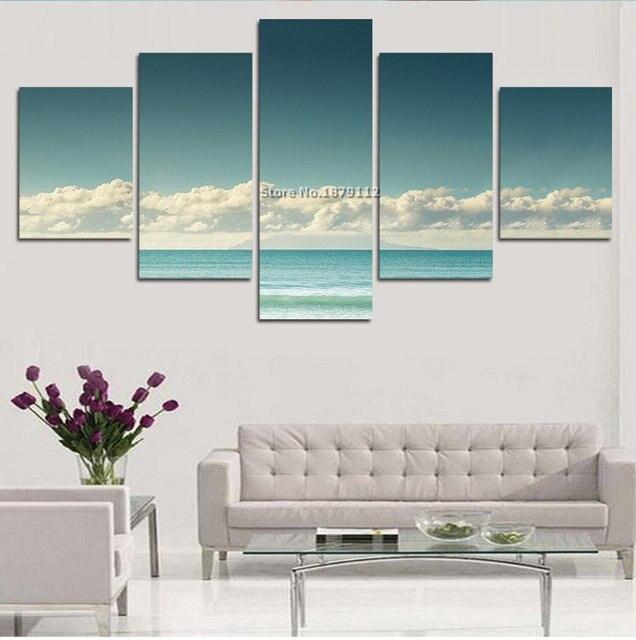 Rushed Modern Decor Paintings White Cloud Blue Ocean Landscape ...