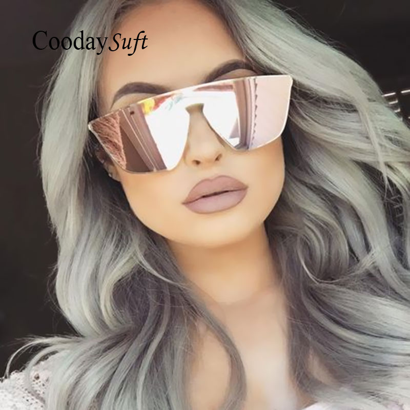 Coodaysuft luxury women Cateye Brand Designer Sunglasses Transparent Alloy Sun Glasses High Quality Clear Female Oversized 2017
