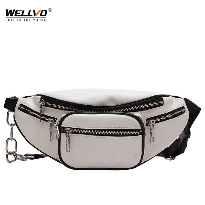 Men's Multifunctional PU Leather Waist Packs Women Portable Chest Bags Mini Shoulder Bag Phone Money Purse Chain Strap XA185WC