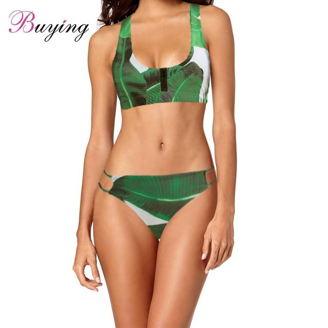a8891ee0f83 Sexy Bikini Women Palm Leaf Print Set Low Waist Push Up Tropical Forest  High-cut Beachwear Swimsuit Bathing Suit Green