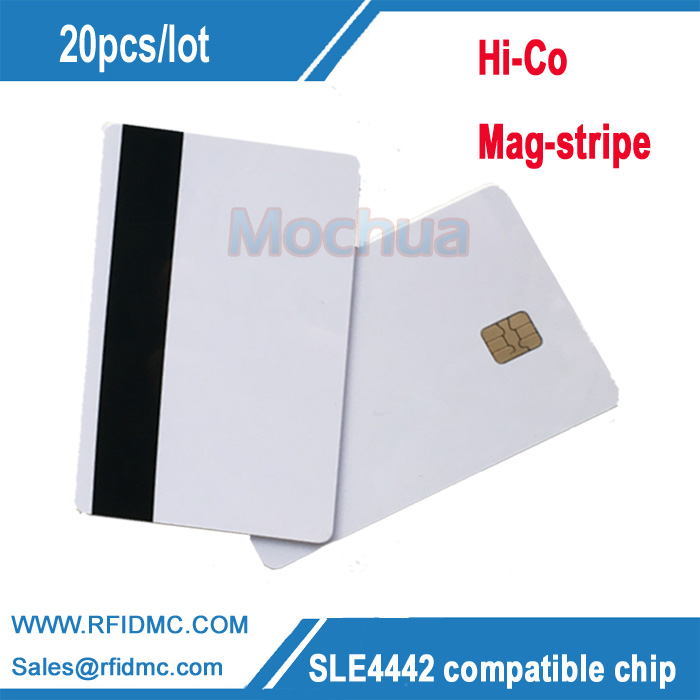 SLE4442 Contact Chip  Card with HICO Mag-stripe ISO7816 PVC Smart IC Card -20pcs 20pcs lot contact sle4428 chip gold card with magnetic stripe pvc blank smart card purchase card 1k memory free shipping