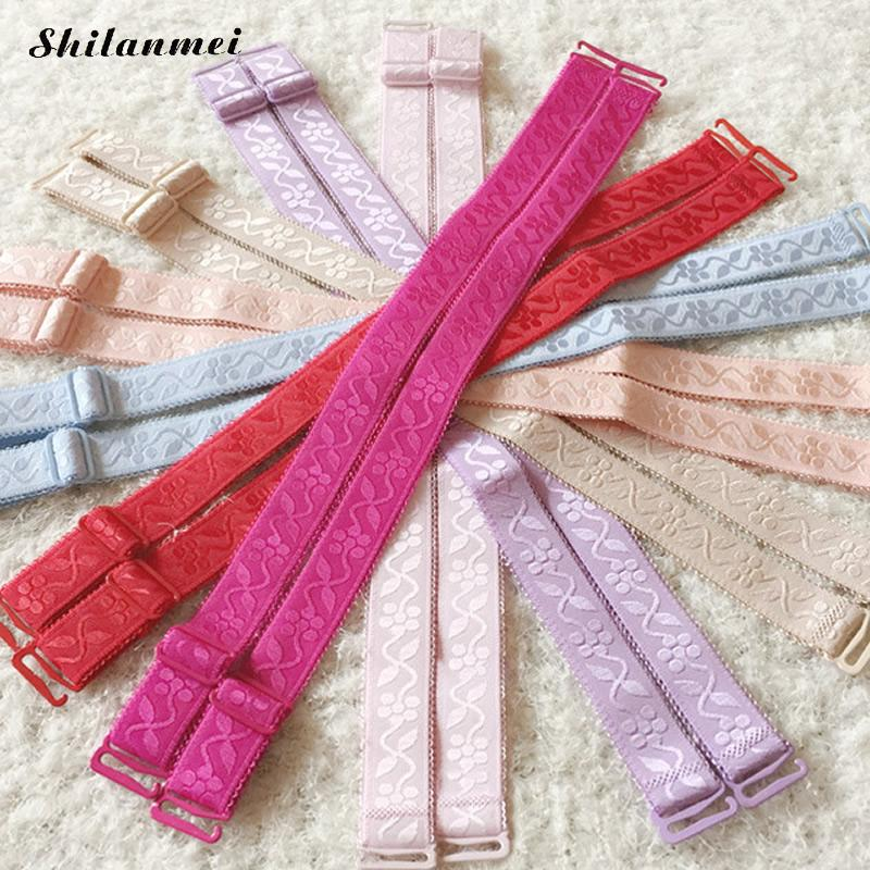 Accessories adjustable bra straps pink flesh belt lace trim gorgeous prom everyday bra straps for dress underwear women 15mm