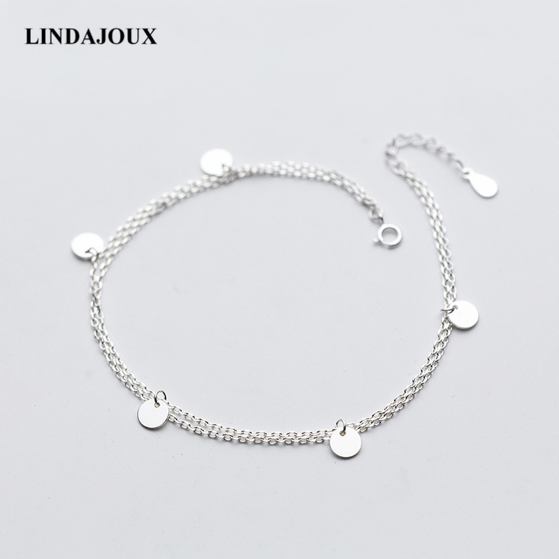 LINDAJOUX 925 Sterling Silver Two Layers Polish Ro