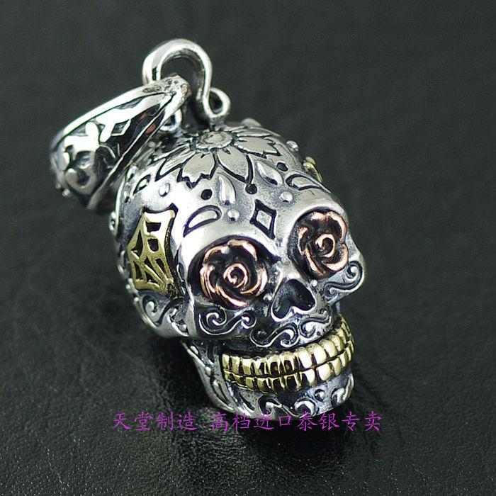 Thailand imports, GV new three-dimensional skull Silver PendantThailand imports, GV new three-dimensional skull Silver Pendant