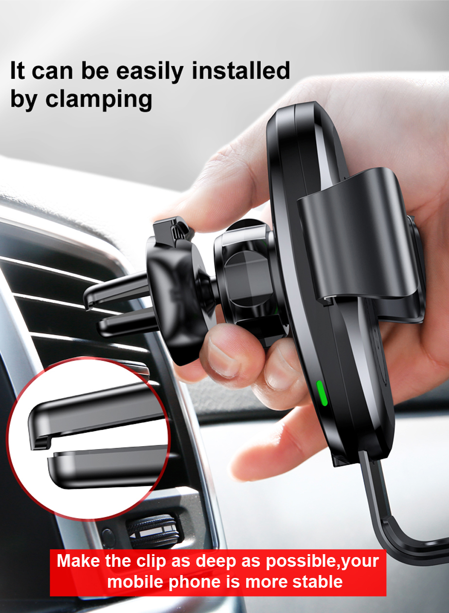 Person - Baseus 10W QI Wireless Charger Car Holder For iPhone X Plus Samsung S8 S9 Fast Car Mount Wireless