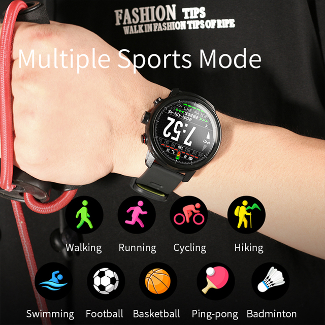 LEMFO Smart Watch with Full Touch Screen IP68 Waterproof Smartwatch Support Multiple Sports Modes Heart Rate Monitoring for Men