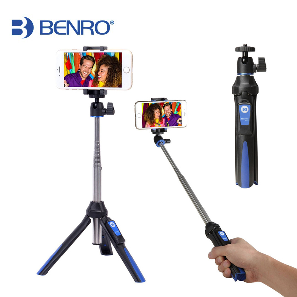 BENRO MK10 Handheld mini Tripod Monopod 3 in 1 Phone Selfie Stick wireless Bluetooth Remote Shutter for iPhone Sumsang Gopro 3 in 1 handheld bluetooth selfie stick for iphone x 8 7 6s plus wireless remote shutter monopod portable extendable mini tripod