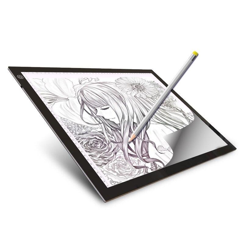 A3 LED planche à dessin éclairée Ultra boîte à lumière dessin tablette traçage Pad carnet de croquis toile vierge pour peinture aquarelle acrylique