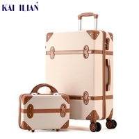 Luggage 20 22 24 26 inch women hard retro rolling luggage set trolley baggage with cosmetic bag vintage suitcase for girls