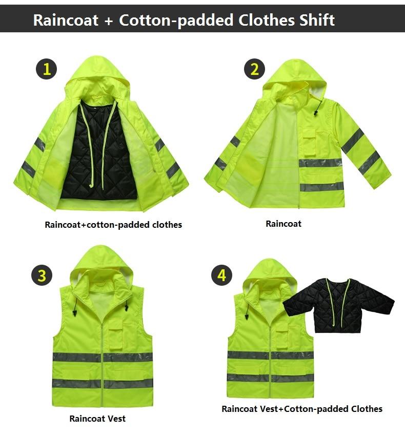 Reflective Warning Safety Cotton-padded Frock Clothing Raincoat Cotton-padded Clothes Shift Multipurpose