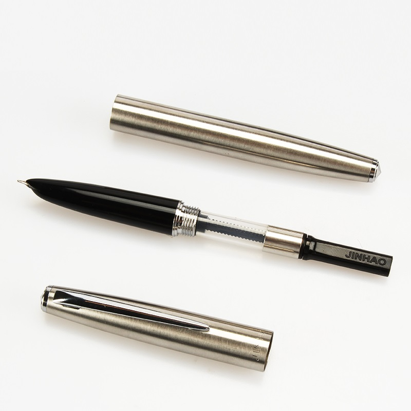 0 38mm Extremely fine Fountain pen Sliver Stainless steel metal body Jinhao 911 Stationery Office school supplies CB619 in Fountain Pens from Office School Supplies