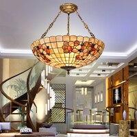 Europejski Tiffany muszelka w stylu retro morza śródziemnego duszpasterska wisiorek światła kostium teto do dekoracji wnętrz w Wiszące lampki od Lampy i oświetlenie na