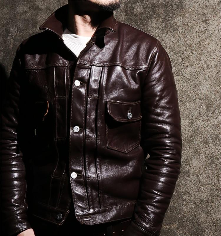 Free shipping.DHL Brand leather clothing man 100% genuine leather Jackets thick fashion men's slim cool horseskin jacket