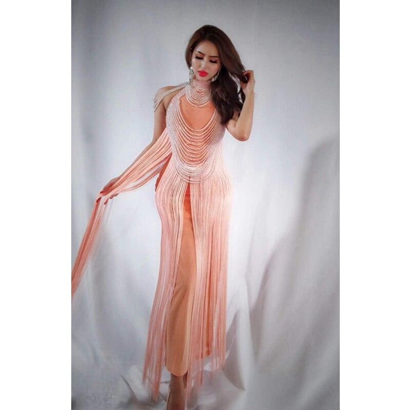 Soirée Rose Maxi Mesh De Celebrity Robe Élégant Sexy Gland Perles Chic Robes D'été Sans Manches 2018 Mode Party Solide MVLzGjUqSp