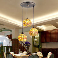 Mediterranean Style Decoration Handmade Turkish Pendant Light Glass Shades Mosaic Pendant Lamp For Bar Coffee Shop