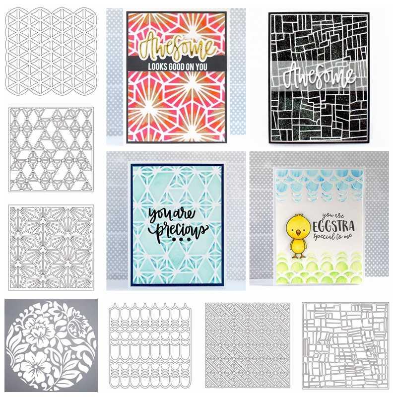 Flower Block Grid Plastic Stencil For DIY Scrapbooking Decorative Embossing  DIY Paper Card Craft Plastic Templates Drawing Sheet