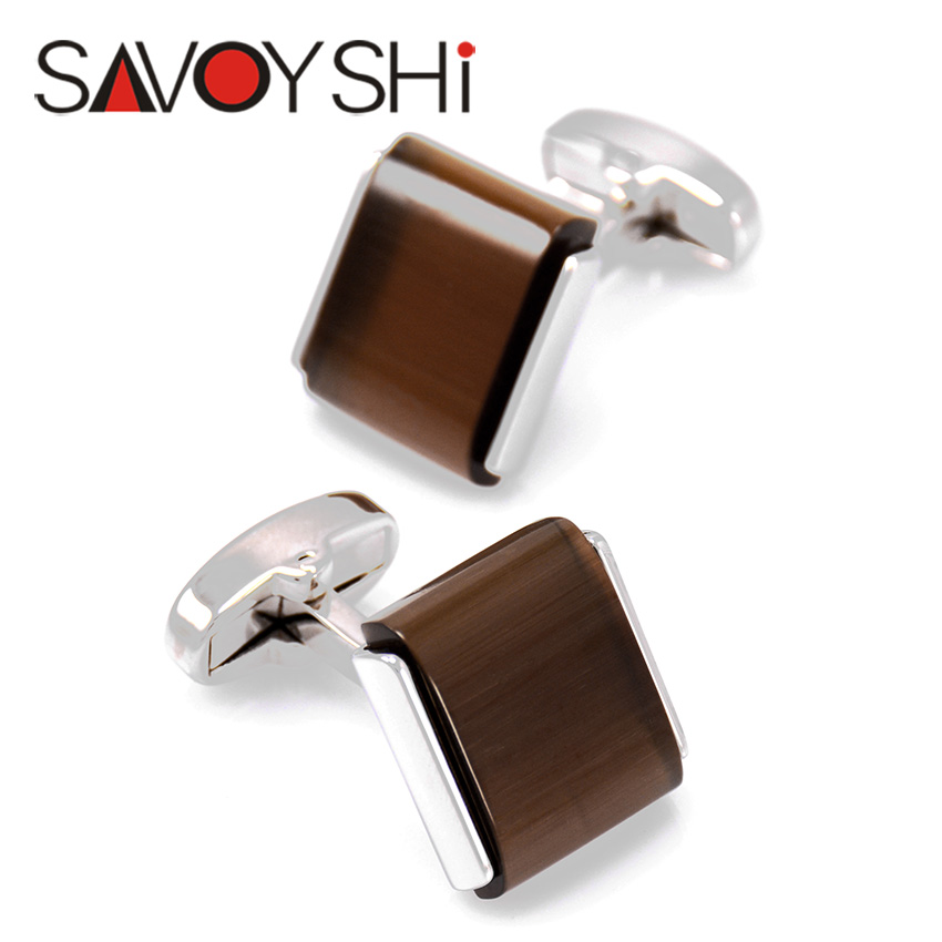 SAVOYSHI Low-key Luxury Shirt Cufflinks for Mens High Quality square brown Stone Cuff Links Brand Jewelry Gift Free Custom Name