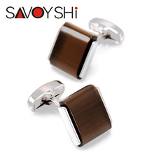 SAVOYSHI Personalized Shirt Cufflinks for Mens High Quality square brown Stone Cuff Links Brand Jewelry Gift Free Custom Name