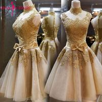 Beauty Emily Golden Short Evening Dresses 2017 Sleeveless Formal Party Prom DressesVestido De Noiva High Neck