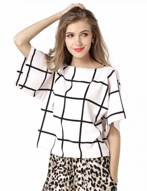 c3eb0c74 Women's Black and White Check Style Wild Top Summer Elegant Casual Chiffon  Shirt