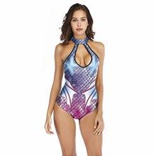 Женское боди без рукавов слитное с 3d принтом в виде рыбьей
